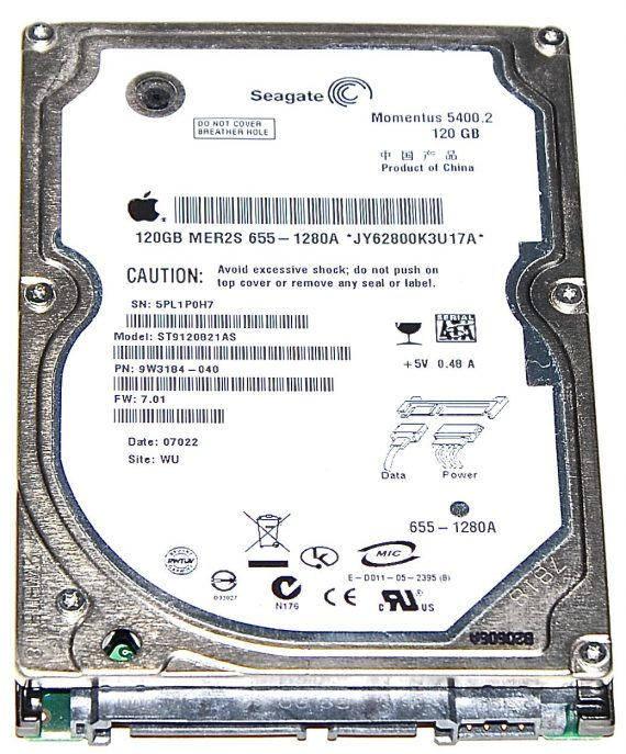 "Hard Drive Festplatte 2,5"" SATA Seagate 120GB ST9120821AS-0"