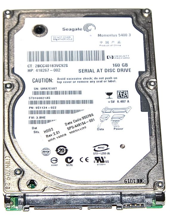 "Hard Drive Festplatte 2,5"" SATA Seagate 160GB ST9160821AS-0"