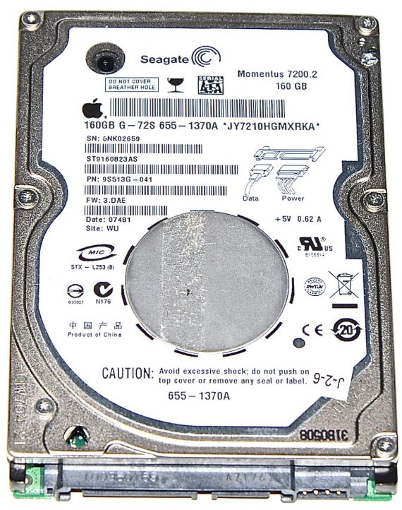 "Hard Drive Festplatte 2,5"" SATA Seagate 160GB ST9160823AS-0"