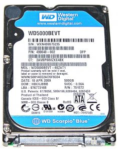"Hard Drive Festplatte 2,5"" SATA WD Western Digital 500GB WD5000BEVT-60ZAT1-0"