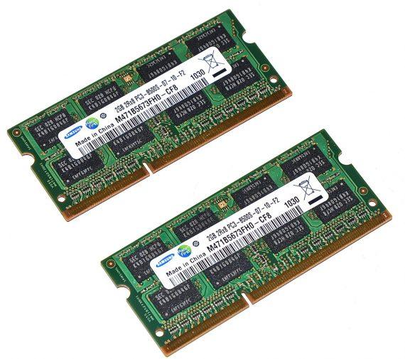 "Original Samsung Arbeitsspeicher (2GB X 2GB) 4GB PC3-8500 DDR3 1066Mhz MacBook Pro Unibody 15"" Mid 2010 A1286-0"