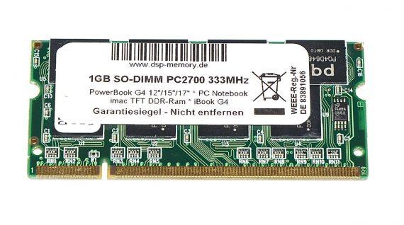 "RAM PC2700 1GB 333MHz für iBook G4 12"" 1.33 GHz Mid 2005 Model A1311-0"