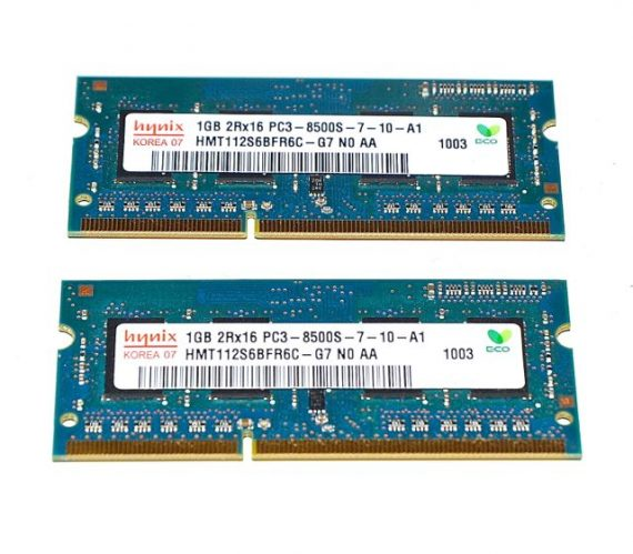 Hynix Arbeitsspeicher 1GBX1GB 2GB PC3-8500 DDR3 1066Mhz Mac Mini A1283 Late 2009-0